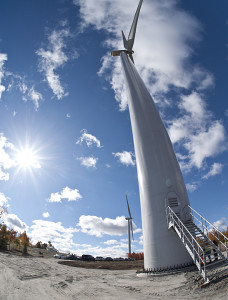 The hub sits 328 ft off the ground, and each of the blades is 168 ft long.